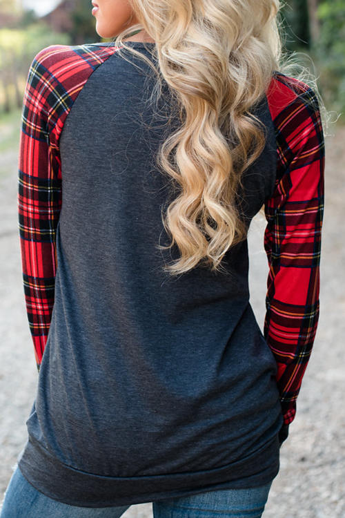 Plaid Splined Hoodie Pocket  Long Sleeve T-Shirt