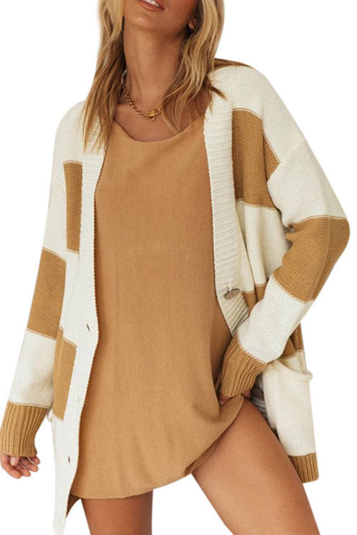 Striped Colorblock Single-Breasted Pocket Cardigan