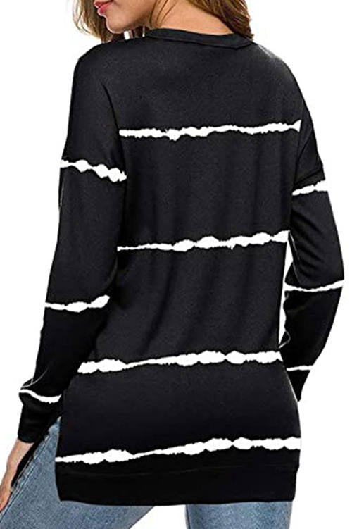 Tie-Dye Printed Striped Long-Sleeved T-Shirt
