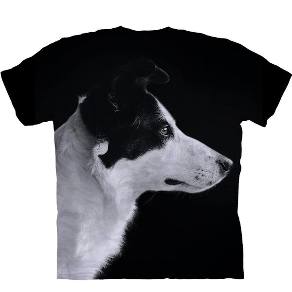 Adult Unisex 3D Short Sleeve T-Shirt Handsome Border Collie With Side Face
