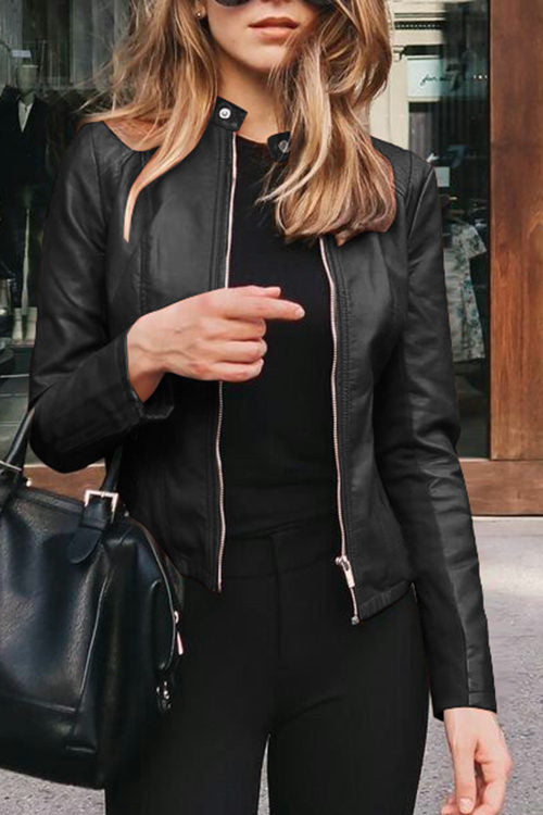 Fashion Leather Suit Jacket