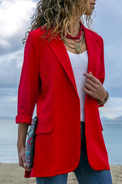 Patchwork Slim Solid Color Long-Sleeved Suit