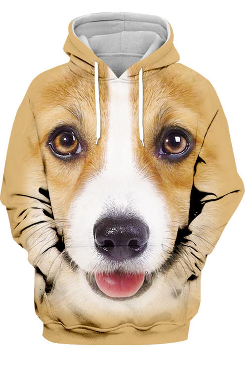 3D Graphic Hoodies Animals Dogs Pembroke Welsh Corgi Smile