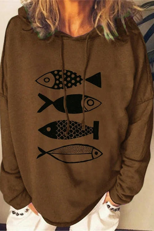 Solid Color Hooded Printed Hoodie