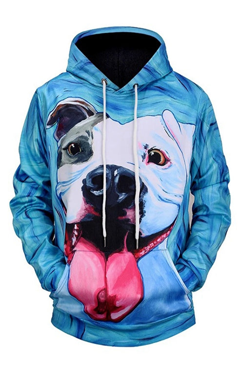Graphic Hoodies  Animals Dogs Blue Bulldog Pitbull