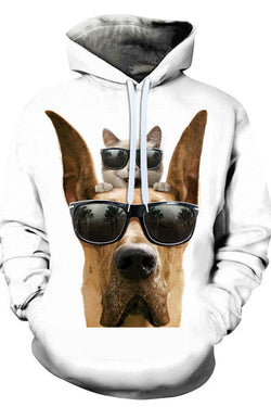 Unisex 3D Graphic Hoodies Animals Dogs Great Dane Wear Glasses