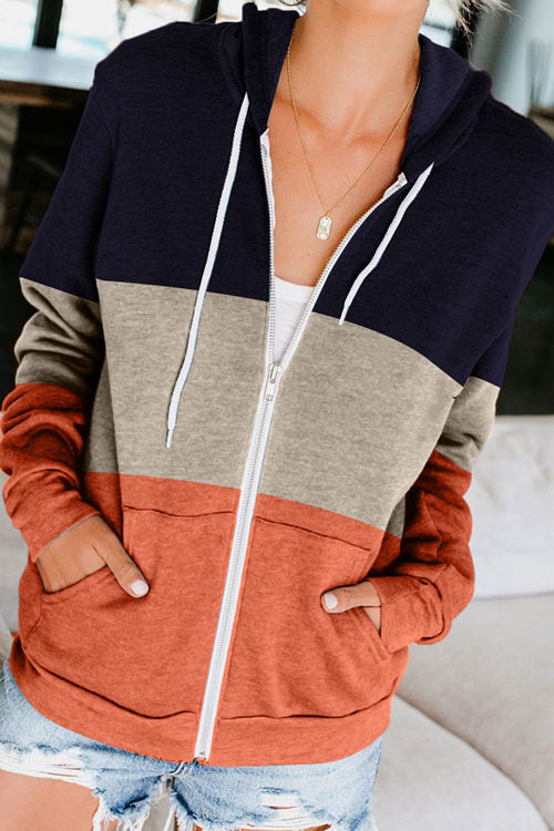 Contrast Hooded Zipper Pocket Sweatshirts