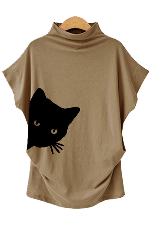 Cat Printed Bat-Sleeve T-Shirt