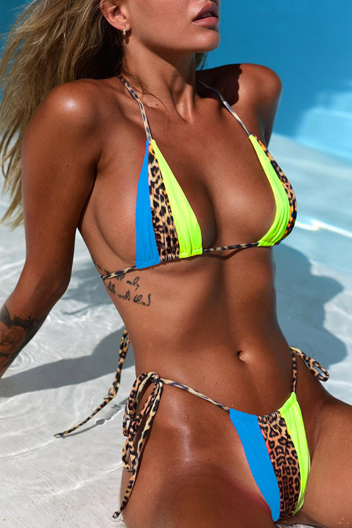 Simple Leopard Printed Patchwork Sexy Bikini