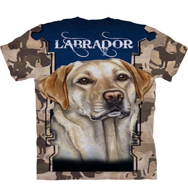 Adult Unisex 3D Short Sleeve T-Shirt Labrador Retriever Yellow