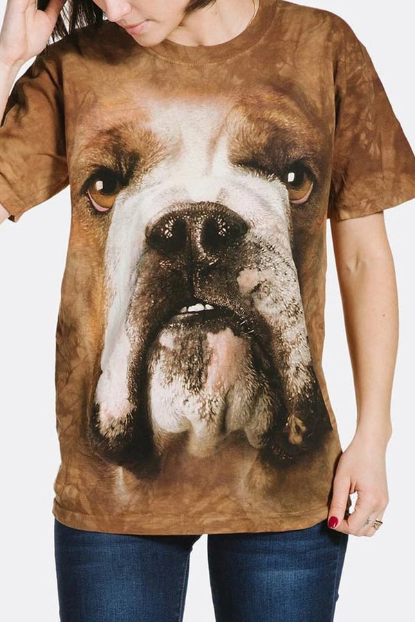 Adult Unisex 3D Short Sleeve T-Shirt Bulldog Face