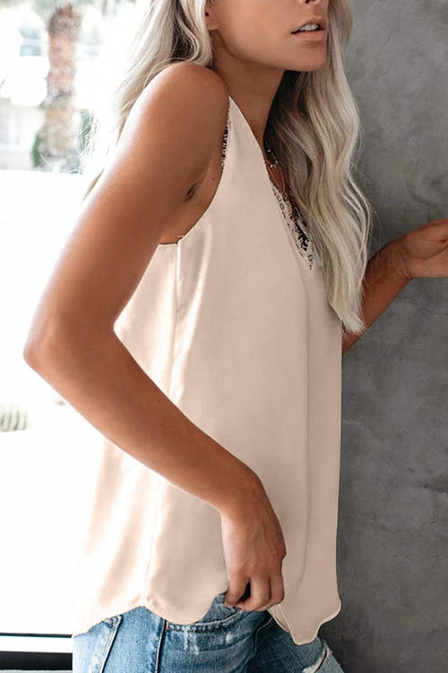 V Neck Eyelash Lace Tank Top