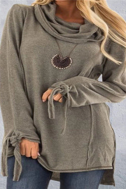 Casual Style Neck Long Sleeve T-Shirt