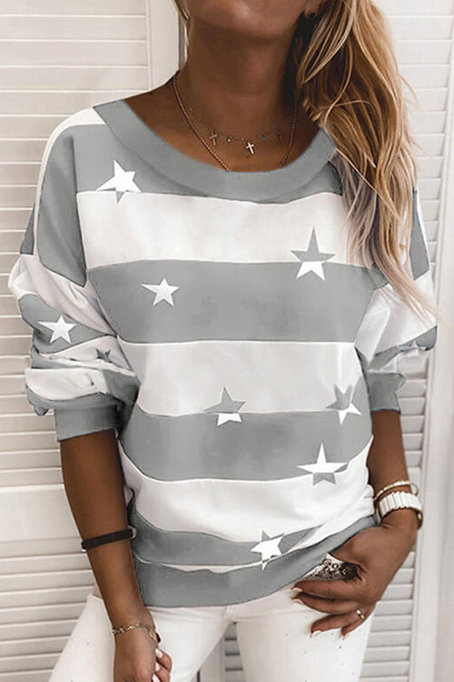 Collar Thick Stripes Print Long Sleeves Loose Shirt