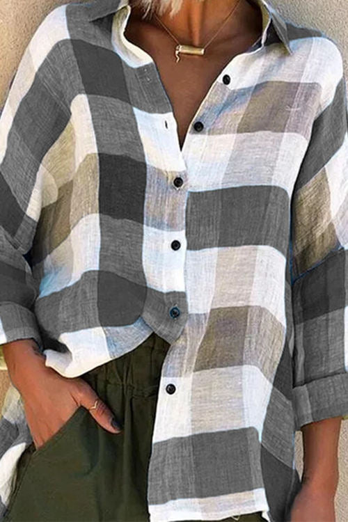 Printed Long Sleeve Loose Check Shirt