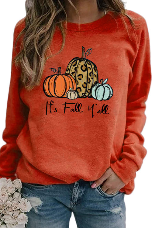 Pumpkin Print Round Neck Raglan Long Sleeve  Shirt