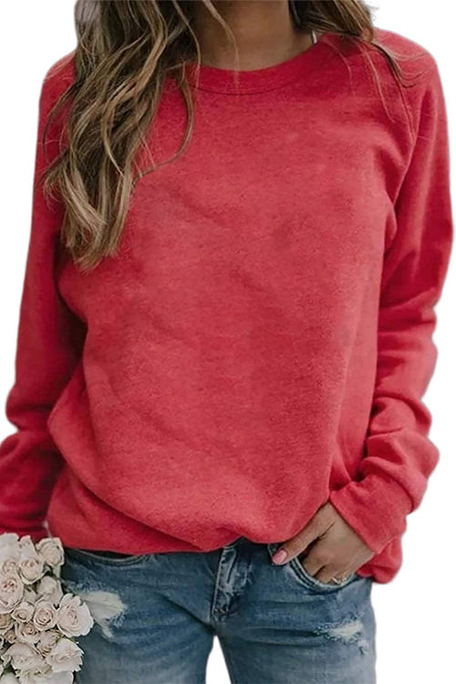 Pure Color Casual Loose Pullover Long Sleeve Shirt