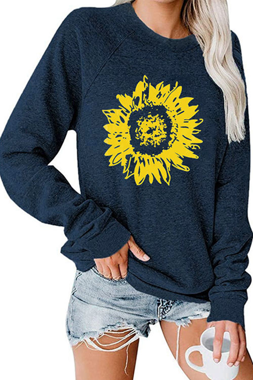 Sunflower Print Long-Sleeved Round Neck Shirt