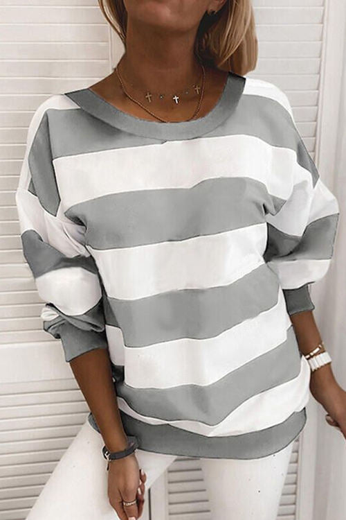 Thick Striped Printed Long-Sleeved Loose Shirt