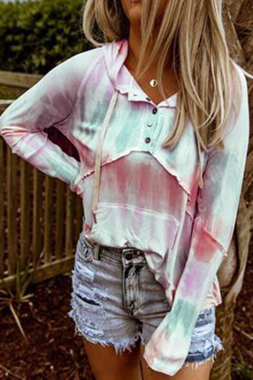 Tie-Dye Long-Sleeved Hooded T-Shirt