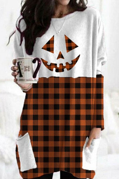 Halloween Pumpkin Face Check Print Pocket T-Shirt