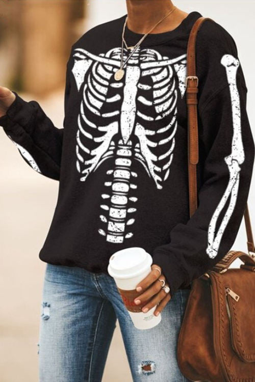 Halloween Skeleton Skull Print Long Sleeve T-Shirt