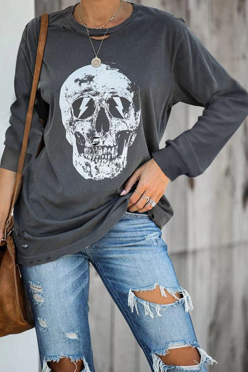 Skull Lightning Print Fashion Shirt