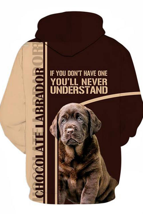 Unisex 3D Graphic Hoodies Sweatshirts Animals Dog Art Chocolate Labrador