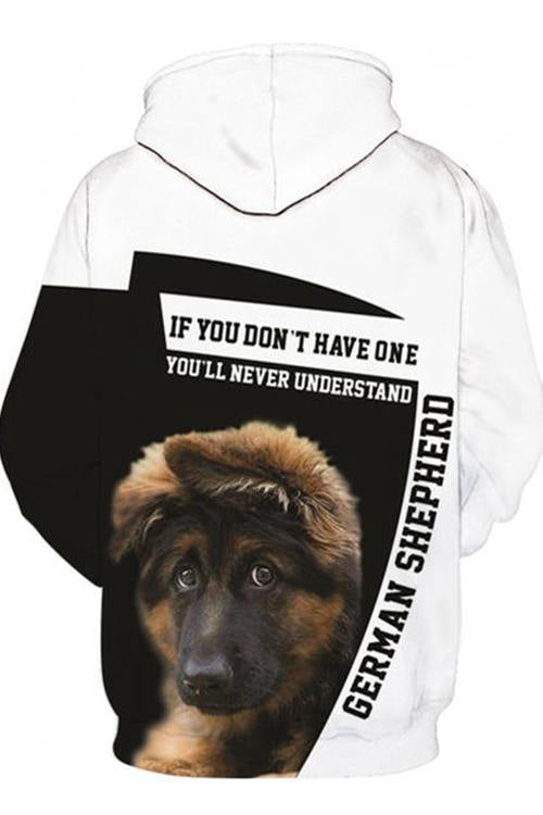3D Graphic Hoodies  Animals Dog Art German Shepherd Pitiful
