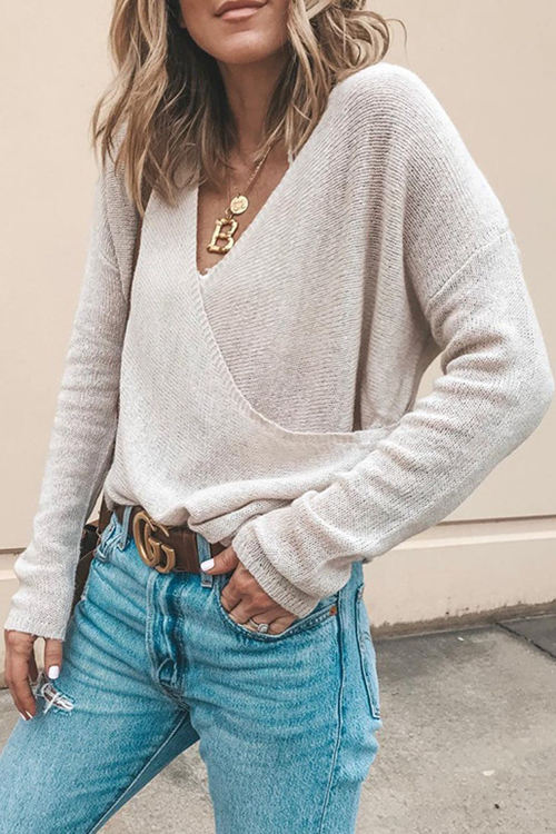Knitted Long Sleeve Loose Blouse