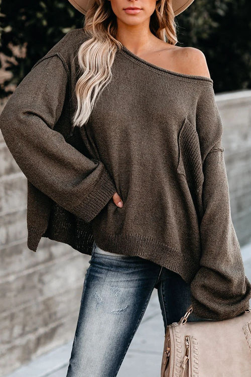 Round Neck Pocket Loose Sweater