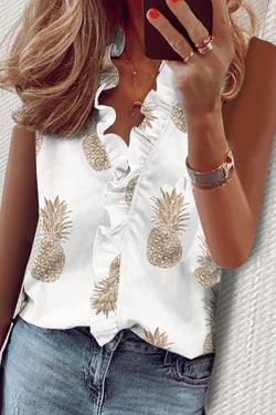 Pineapple Printed Falbala V Neck Tank Top