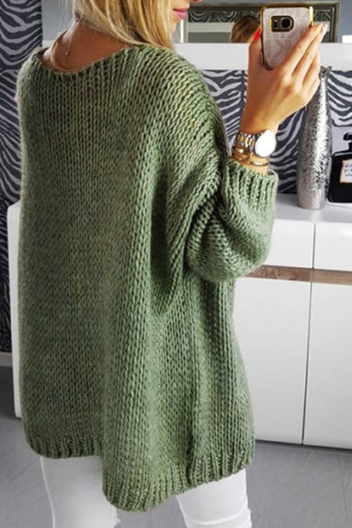 Solid Color V-Neck Knitted Cardigan