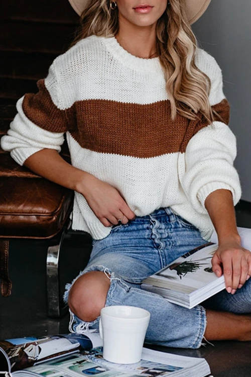 Round Neck Striped Loose Knit Sweater