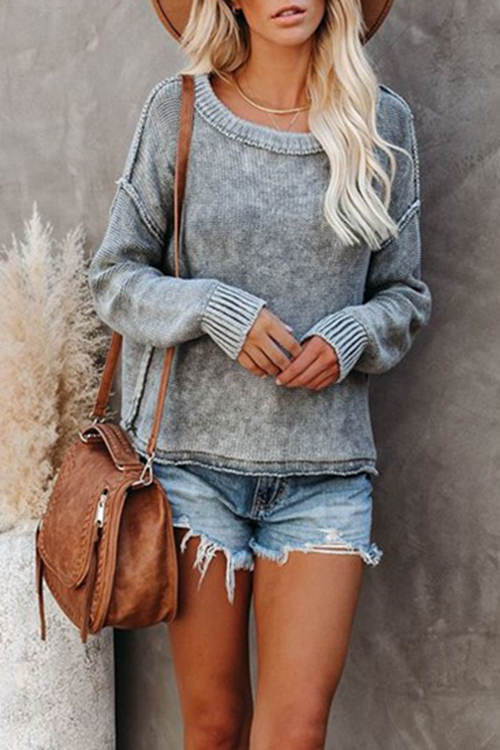 Round Neck Solid Color Sweater
