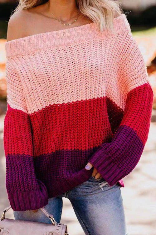Patchwork Knitted Loose Sweater