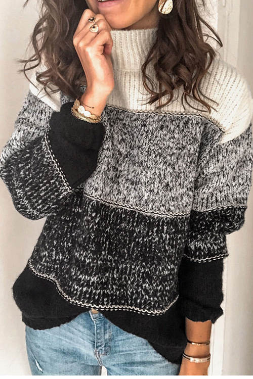 Mixed Color Stripe Stitching High Neck Contrast Sweater