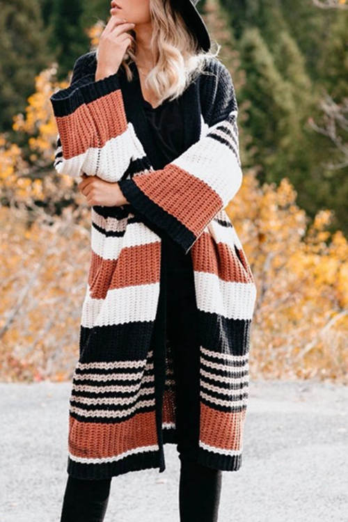 Loose Striped Color Block Sweater Cardigan