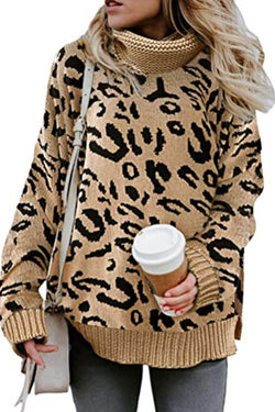 Leopard Print Turtleneck Knitted Sweater
