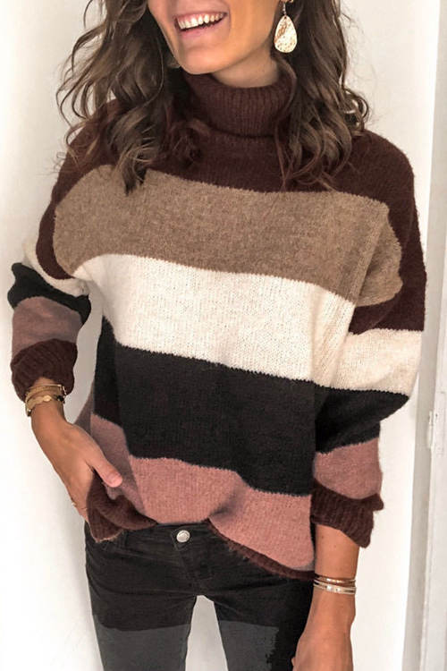 High Neck Stitching Striped Sweater