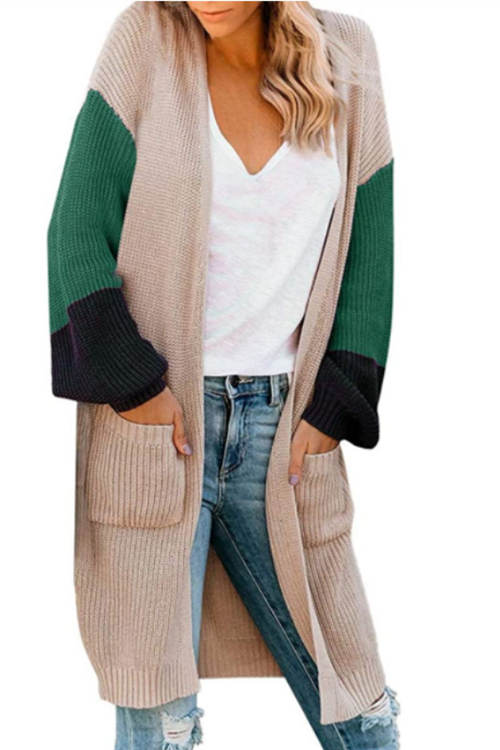 Colorblock Striped Knitted Cardigan