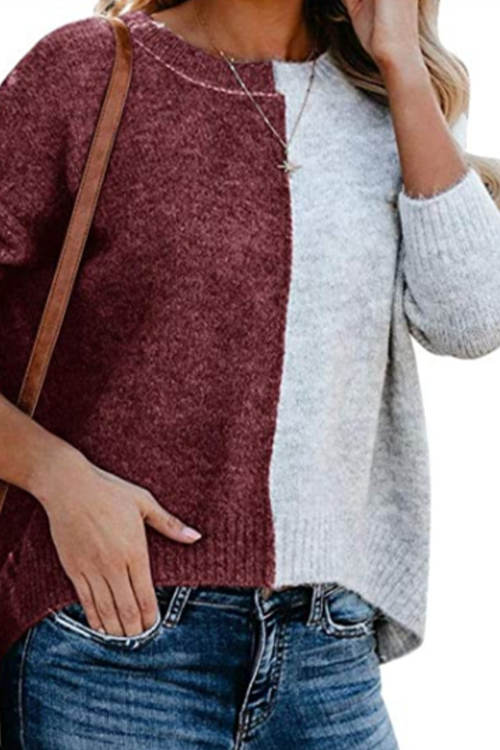 Color Block Round Neck Pullover Sweater