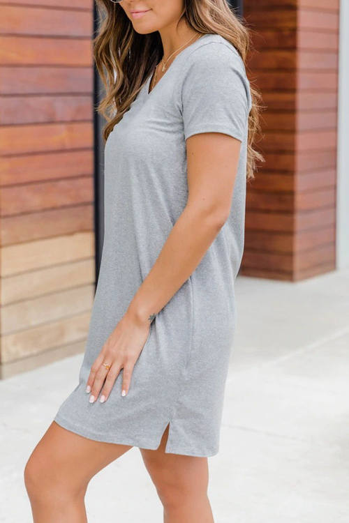 V-Neck Loose Medium Length T-Shirt