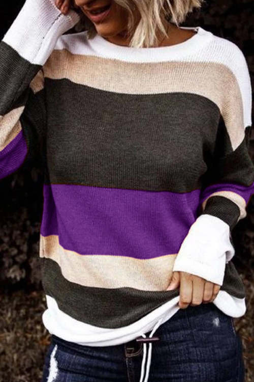 Color Block Pullover Long Sleeve Sweater