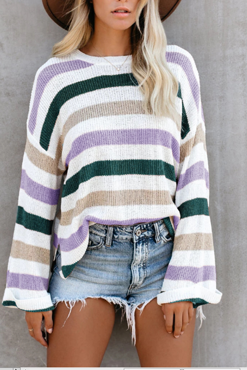 Striped Amazon Sweater Hot Style Knit Sweater