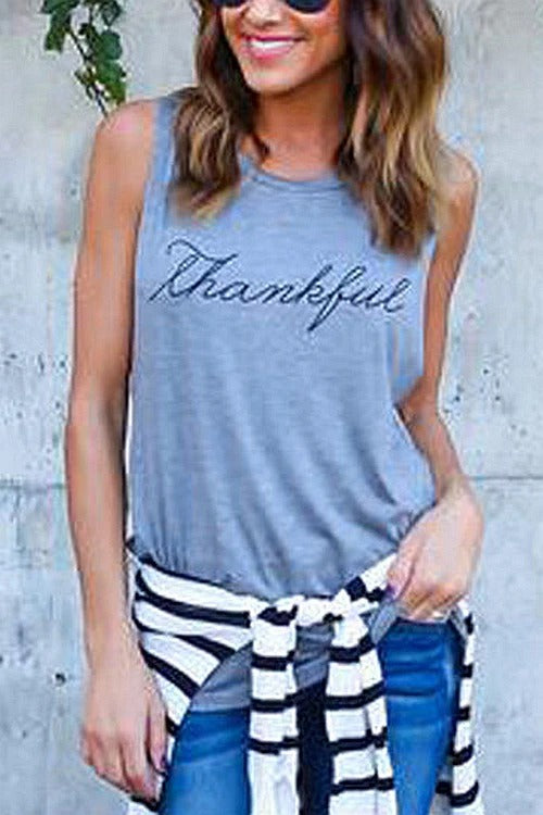 Letter Printed Casual Tank Top