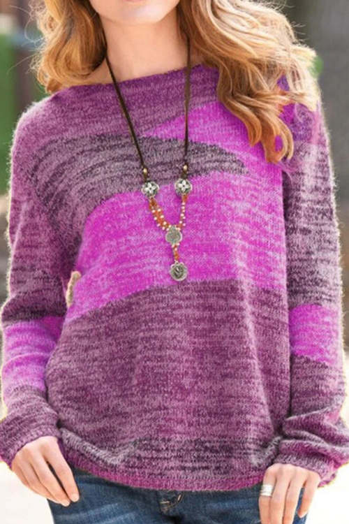 Contrasting Color Versatile Long Sleeve Round Neck Sweater
