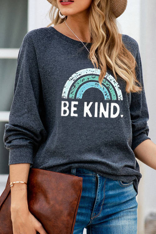 Loose Rainbow Print Sweatshirt