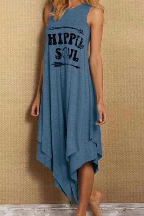 Letter Printed Round Neck Casual Dress