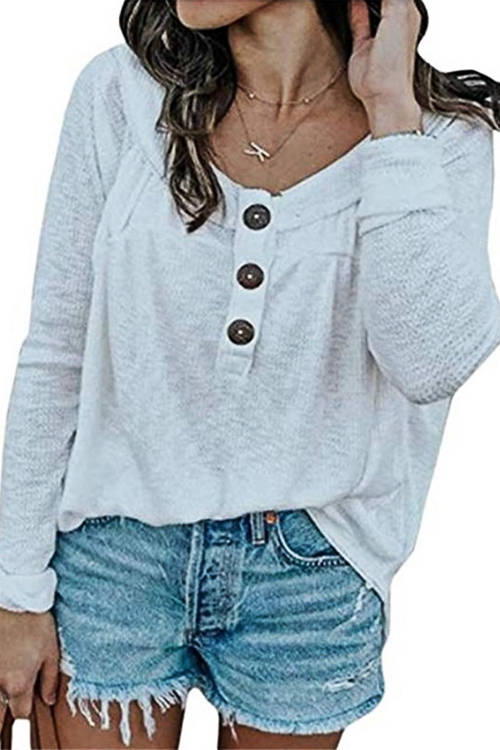 Knitted Round-Neck Button T-Shirt